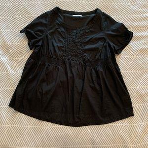Old Navy Black Elastic Waist Short Sleeve Blouse